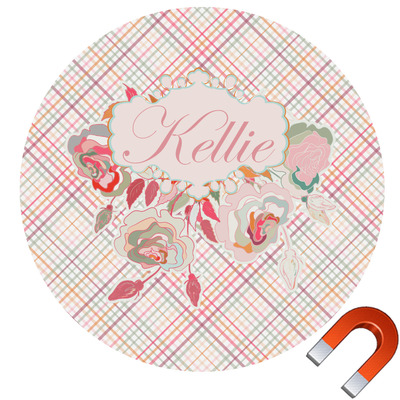 Modern Plaid & Floral Car Magnet (Personalized)