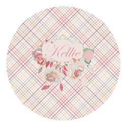 Modern Plaid & Floral Round Decal - Custom Size (Personalized)