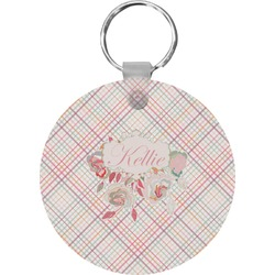 Modern Plaid & Floral Round Keychain (Personalized)