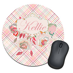 Modern Plaid & Floral Round Mouse Pad (Personalized)