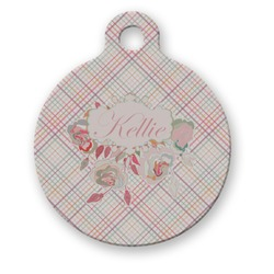 Modern Plaid & Floral Round Pet Tag (Personalized)