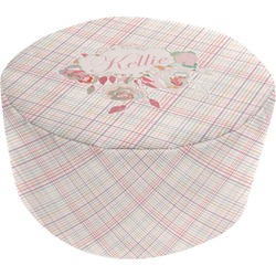Modern Plaid & Floral Round Pouf Ottoman (Personalized)