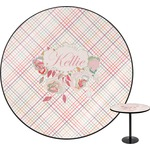 Modern Plaid & Floral Round Table (Personalized)