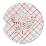 Modern Plaid & Floral Sandstone Car Coasters (Personalized)