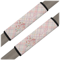 Modern Plaid & Floral Seat Belt Covers (Set of 2) (Personalized)