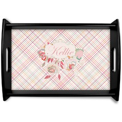 Modern Plaid & Floral Black Wooden Tray (Personalized)