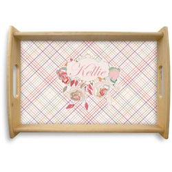 Modern Plaid & Floral Natural Wooden Tray - Small (Personalized)