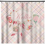 Modern Plaid & Floral Shower Curtain (Personalized)