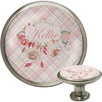 Modern Plaid & Floral Cabinet Knob (Silver) (Personalized)