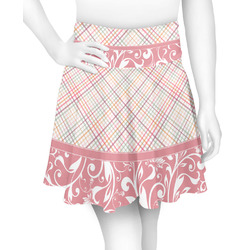 Modern Plaid & Floral Skater Skirt (Personalized)