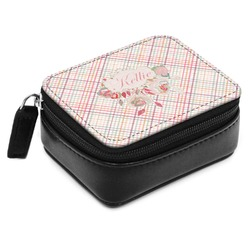 Modern Plaid & Floral Small Leatherette Travel Pill Case (Personalized)