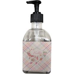 Modern Plaid & Floral Soap/Lotion Dispenser (Glass) (Personalized)