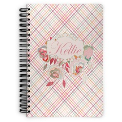 Modern Plaid & Floral Spiral Bound Notebook (Personalized)