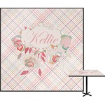 Modern Plaid & Floral Square Table Top (Personalized)