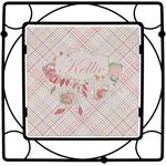 Modern Plaid & Floral Square Trivet (Personalized)
