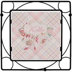 Modern Plaid & Floral Trivet (Personalized)