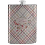 Modern Plaid & Floral Stainless Steel Flask (Personalized)