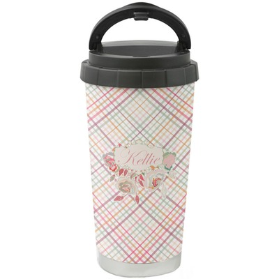 Modern Plaid & Floral Stainless Steel Coffee Tumbler (Personalized)
