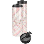 Modern Plaid & Floral Stainless Steel Skinny Tumbler (Personalized)
