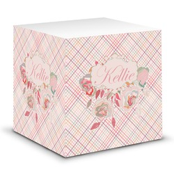 Modern Plaid & Floral Sticky Note Cube (Personalized)