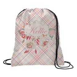 Modern Plaid & Floral Drawstring Backpack (Personalized)