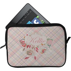 Modern Plaid & Floral Tablet Case / Sleeve (Personalized)