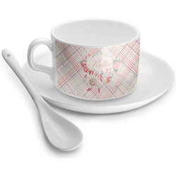 Modern Plaid & Floral Tea Cup - Single (Personalized)