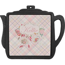Modern Plaid & Floral Teapot Trivet (Personalized)