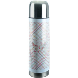 Modern Plaid & Floral Stainless Steel Thermos (Personalized)