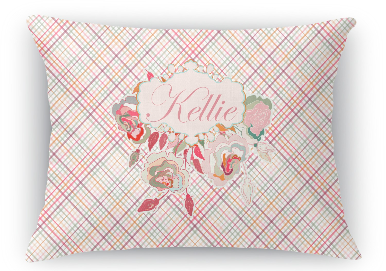 Modern Plaid Pillow : Modern Plaid & Floral Rectangular Throw Pillow - 12