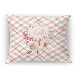 Modern Plaid & Floral Rectangular Throw Pillow Case (Personalized)