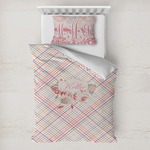 Modern Plaid & Floral Toddler Bedding w/ Name or Text