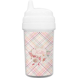 Modern Plaid & Floral Toddler Sippy Cup (Personalized)