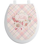 Modern Plaid & Floral Toilet Seat Decal (Personalized)