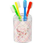 Modern Plaid & Floral Toothbrush Holder (Personalized)