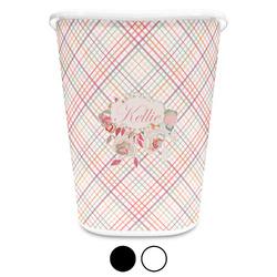 Modern Plaid & Floral Waste Basket (Personalized)