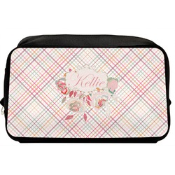 Modern Plaid & Floral Toiletry Bag / Dopp Kit (Personalized)