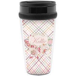 Modern Plaid & Floral Travel Mug (Personalized)