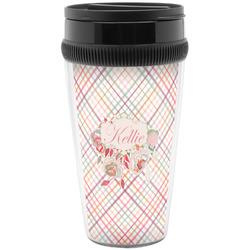 Modern Plaid & Floral Travel Mug (Personalized)