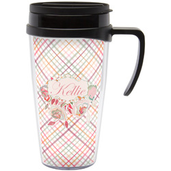 Modern Plaid & Floral Travel Mug with Handle (Personalized)