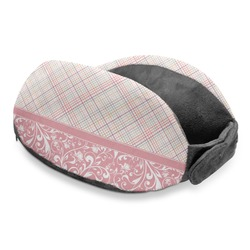 Modern Plaid & Floral Travel Neck Pillow (Personalized)