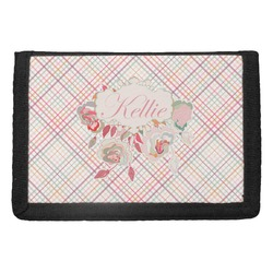 Modern Plaid & Floral Trifold Wallet (Personalized)
