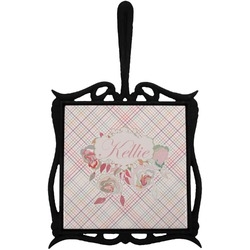 Modern Plaid & Floral Trivet with Handle (Personalized)