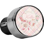 Modern Plaid & Floral USB Car Charger (Personalized)