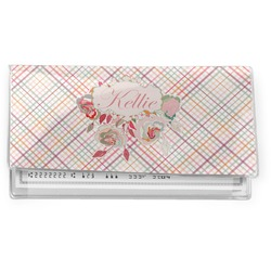 Modern Plaid & Floral Vinyl Check Book Cover (Personalized)