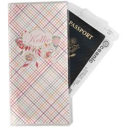 Modern Plaid & Floral Travel Document Holder