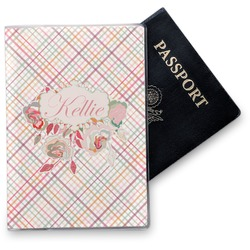 Modern Plaid & Floral Vinyl Passport Holder (Personalized)