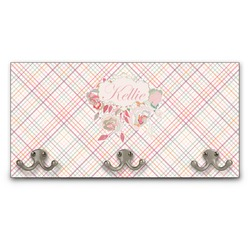 Modern Plaid & Floral Wall Mounted Coat Rack (Personalized)