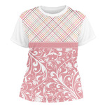 Modern Plaid & Floral Women's Crew T-Shirt (Personalized)