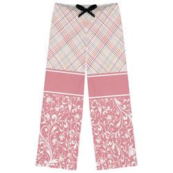Modern Plaid & Floral Womens Pajama Pants (Personalized)